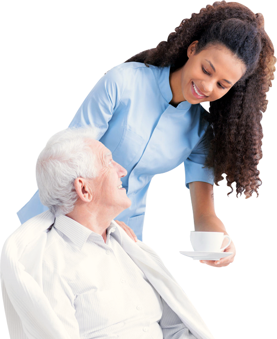 caregiver serving coffee to a senior man
