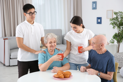seniors being taken care off by their caregivers